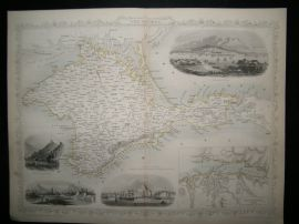 Crimea 1858 Antique Map. After Tallis Rapkin.